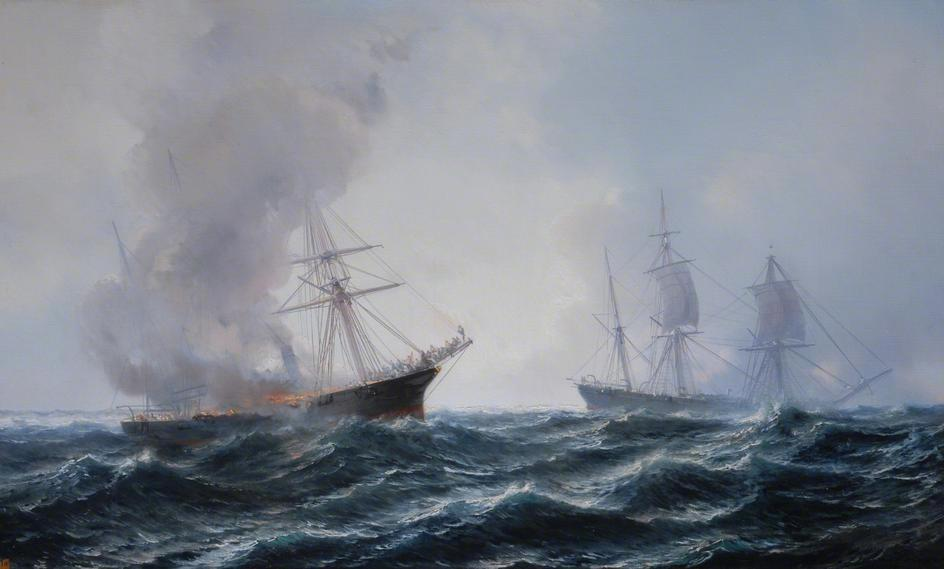 sailing ship fire smoke - photo #36